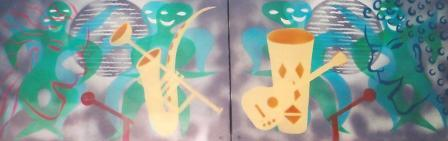 African Jazz (Disco Jive I & II) 1860mm x 625mm Spraypaint on canvas..jpg