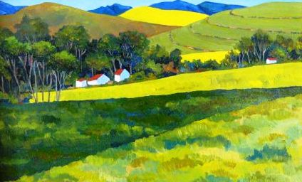 Farm with trees and wheatfields (No. 514) 43cm x 29cm Oil on board R2900.jpg