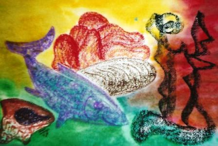 Fish, bread & fruit with ornament 515mm x 360mm Oil, pastels & watercolour on paper.jpg