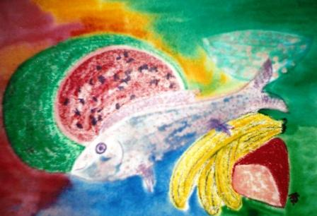 Fish, cheese & fruit 515mm x 360mm Oil pastels & watercolours on paper.jpg