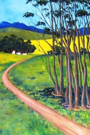 Trees with road and canola (No. 515) 600cm x 900cm Oil on canvas R4900.jpg