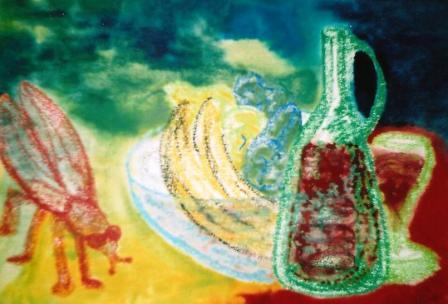 Wine & fruit 2 with ornament 530mm x 340mm Oil pastels & watercolours on paper.jpg