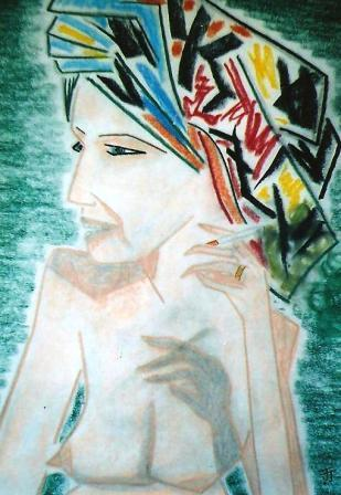 Women with headdress 420mm x 585mm Chalk, pastel & charcoal on paper.jpg